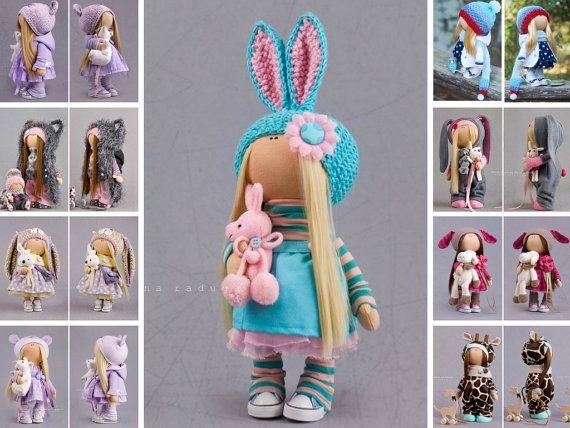 Banny doll Baby doll Textile doll Tilda doll Interior doll rabbit doll Art doll turquise doll soft doll Cloth doll Fabric doll  by Alena R