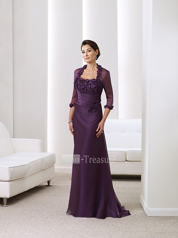 Purple Satin/Chiffon Strapless Ruffle/Hand-flower A-line Floor-length Mother of the Bride Dress