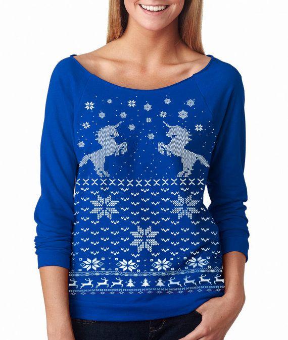 Women's Ugly Christmas sweater  Unicorn sweatshirt by skipnwhistle