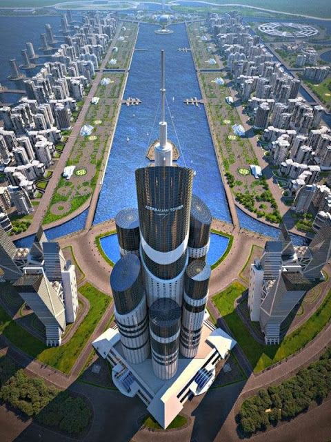 Azerbaijan Tower - Baku, Azerbaijan.  This skyscraper is set to be the worlds tallest, at 3,645 feet or one kilometer.  It will be built on one of a series of man made islands in the Caspian Sea.  The target date for construction is 2019.