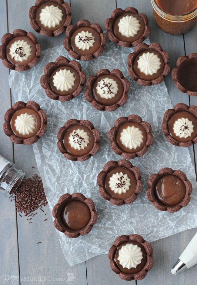 Chocolate Caramel Cheesecake Tartlets | Baking a Moment