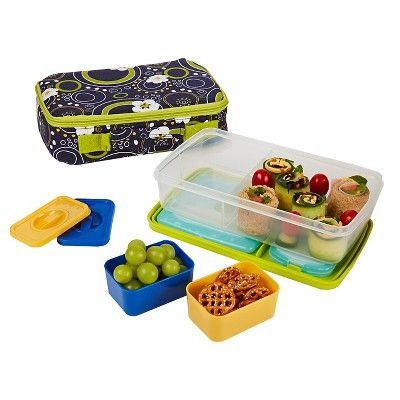 Fit & Fresh Bento Lunch Box Kit with Reusable Ice Packs - Cherry Dots, Dark Blue