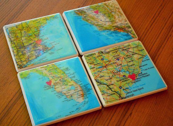 Custom Map Coasters / Map Coasters / State by SadiePeachDesigns