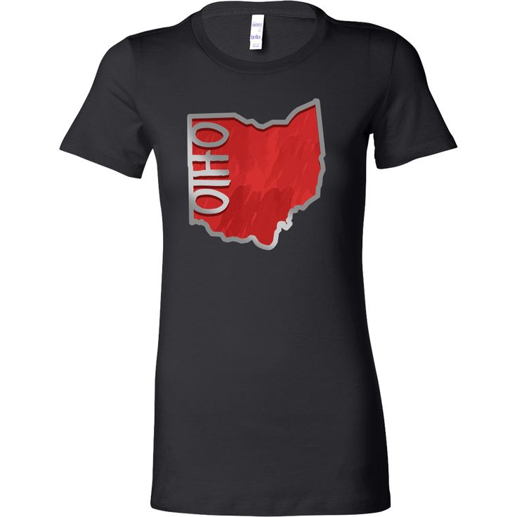 Love Ohio Flag Map Outline Souvenir Bella Shirt