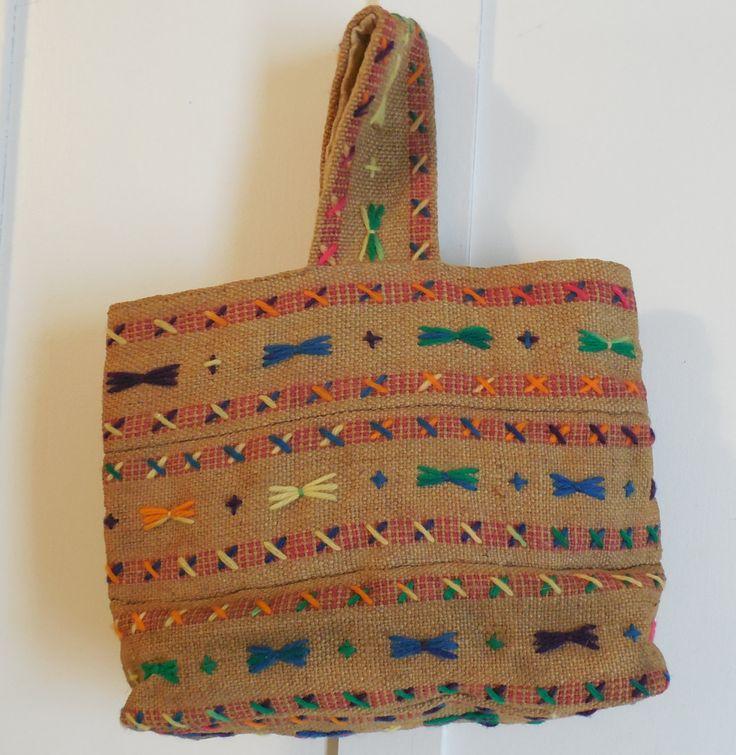 "Burlap Embroidered Handbag, Handmade Burlap Purse, 9 1/2"" Tall Yarn Embroidered Purse, Vintage Burlap Purse by ShellyisVintage on Etsy"