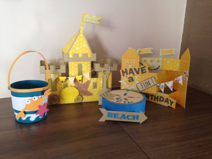 Beach Theme - Sand castle bucket and spade, shell box and birthday card @svg