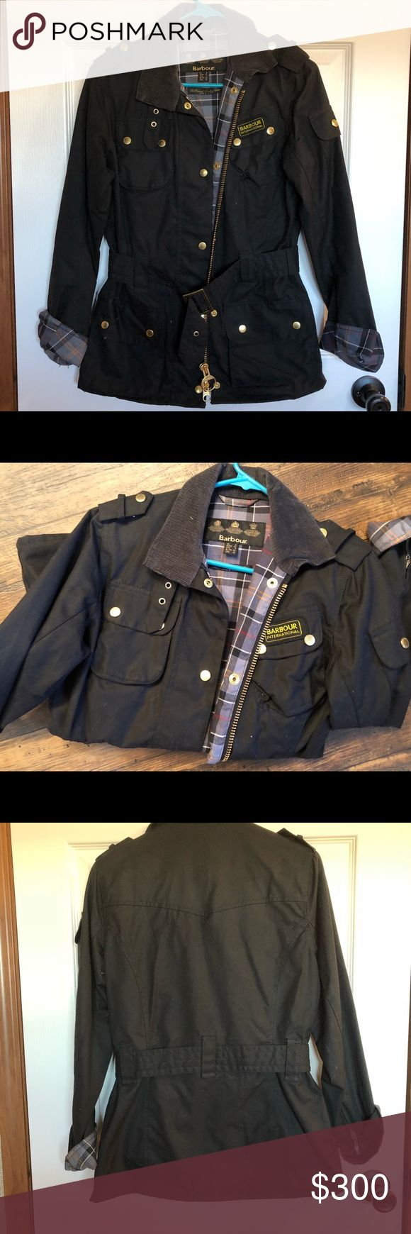 Barbour International Wax Jacket Like new! Worn a handful of times.  Part of the Tourer collection by Barbour International, this fitted and flattering waxed jacket features an adjustable belt with a large brass buckle to cinch in the waist, creating a tailored, feminine shape. Authentic biker jacket details – including shoulder epaulettes, collar strap, sleeve pocket and zipped cuffs – add a moto-inspired edge, and the signature Modern Tartan print adorns the 100% cotton lining. Barbour…