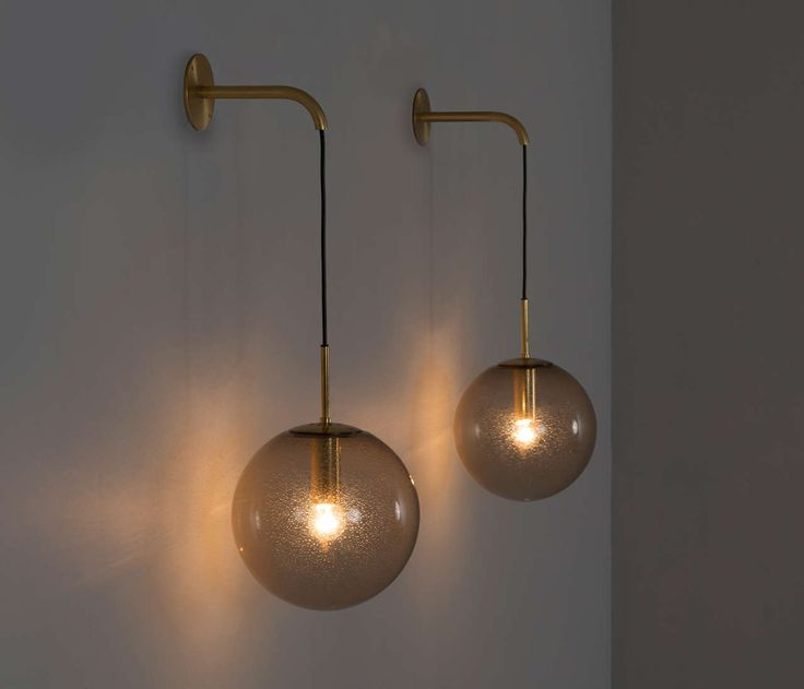 Large Glass Wall Lights : Large Set of 24 1960s Wall Light with Brass Details Metals, Modern and Glass globe