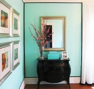Benjamin Moore Costal Paradise, 655  Closest to Tiffany Blue that I've found.
