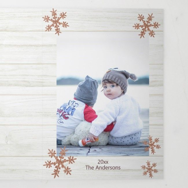 Rose Gold Snowflake Rustic Christmas 3 Photo Tri Fold Holiday Card Zazzle Com Folded Holiday Cards Folded Christmas Cards Holiday Card Template