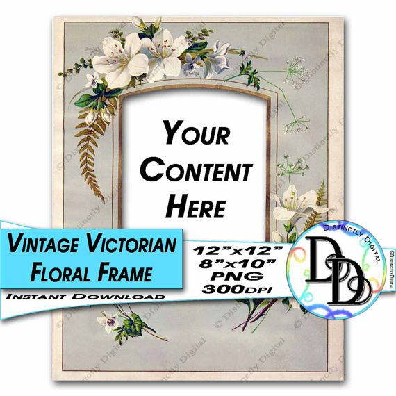 Digital Scrapbook Picture Frame Printable Victorian Floral Photo Album Page Commercial Use Graphic Clip Art Instant Download File by DistinctlyDigital