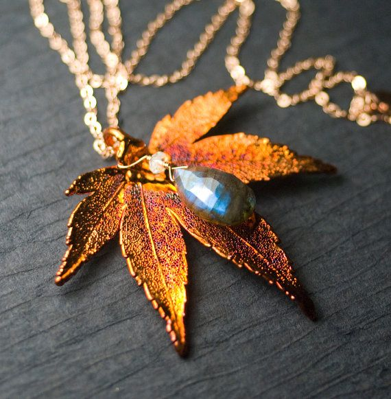 """Sunkissed"" ~ REAL Japanese Maple Copper Dipped Leaf Pendant, 'AA' Blue Fire Labradorite, Rose Gold Necklace by Moss & Mist Jewelry, $84"