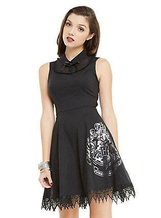 Harry Potter Hogwarts Collar Dress, BLACK