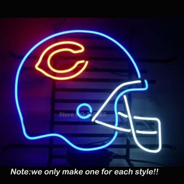 Chicago Bears Helmet Neon Sign Room Art Design Decorate Restaurant Super Bright Lamp Neon Bulbs Store Display Gift 17x14 #Affiliate