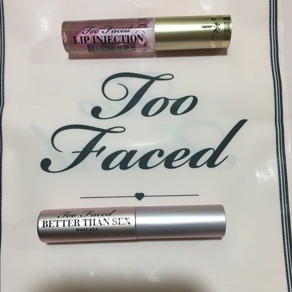 Too Faced Mascara & Lip Injection Price is firm because of posh high % however I do used other sites to help cost. I'm super friendly but don't respond to lowballing.   1- Too Faced Lip Injection w/tint TRAVEL SIZE brand new unused & unopened  1- Too Faced Better Than Sex Mascara TRAVEL SIZE brand new unused & unopened   Set always sold out on Too Faced.                         I ship quick but don't control USPS unfortunately. I try to add small extras to every order & will go out of my way…