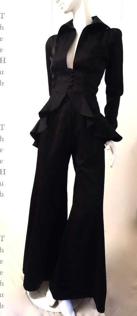 uber sexy ruffled 30s homage black satin suit by Ossie Clark...at thee hub...
