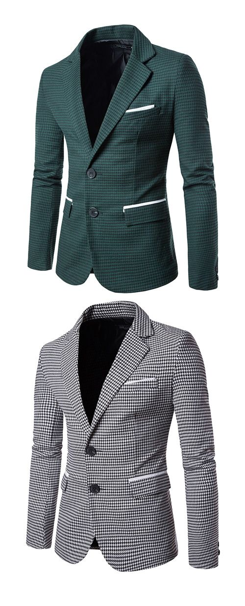 Men's Work Simple Fall Blazer,Houndstooth Peaked Lapel Long Sleeve Regular Cotton
