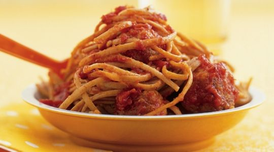 Spaghetti and Meatballs (with butternut squash and carrot puree) : Recipes : do it Delicious