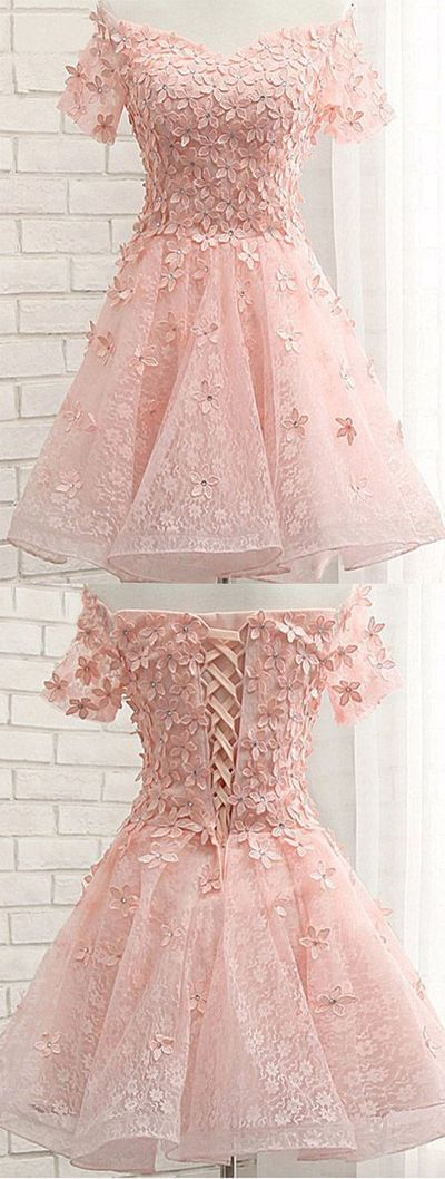 Pink Off Shoulder Short Sleeves Lace Beading Appliques Short Prom Dress,482