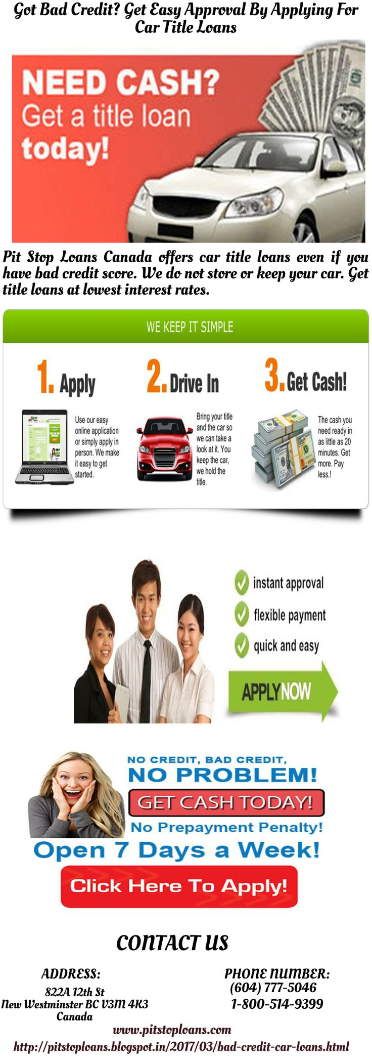 Got bad or poor credit no need to worry call pit stop loans canada and get approved for car title loans at lowest interest rates with no prepayment