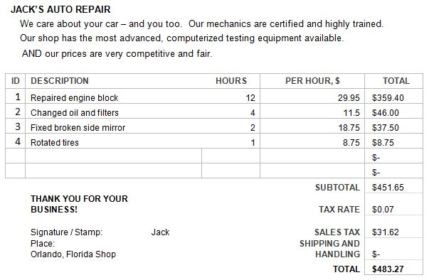 Sample Auto Repair Estimate Template Before you call a AC repair - auto shop invoice template