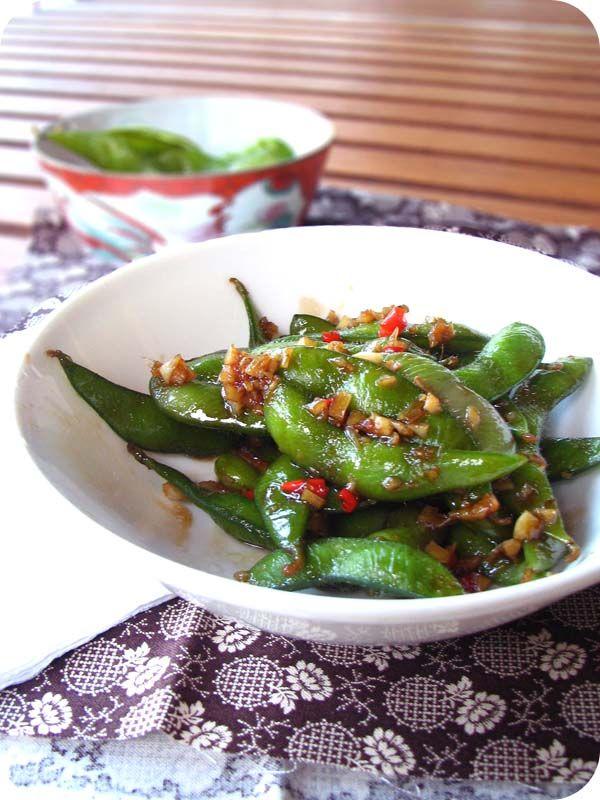 Wok-Fried Edamame with Garlic & Chiles