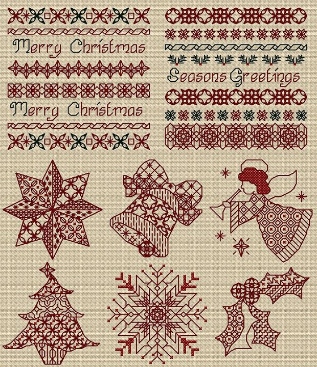 Blackwork Christmas in red. No chart for this, need to locate the chart.