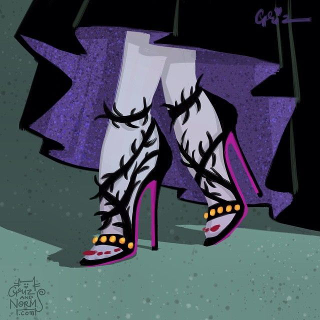 Maleficent in fancy Balenciaga inspired thorn sandals.