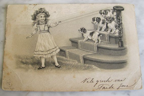 Vintage Antique BW Postcard. Little girl with by grandma62 on Etsy