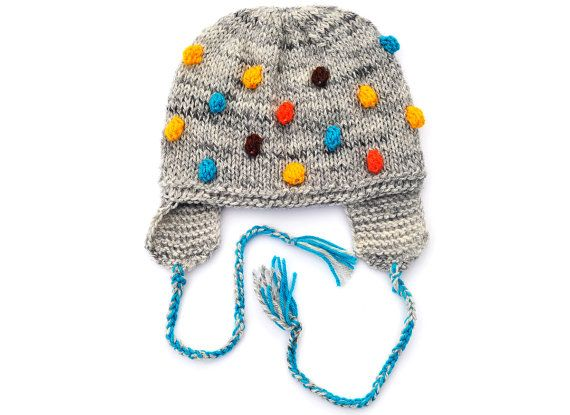 Knitted Toddlers Kids Childrens Boys Girls Baby Hat, Grey with Blue - Turqouise Yellow Brown Orange Bobbles with EarFlap, 12-18-24 M, 2T-5 T on Etsy, $28.00