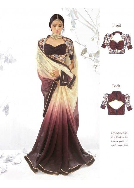 Impressive Multi Colored Border Worked Georgette Jacquard Saree 84020 #индия #сари