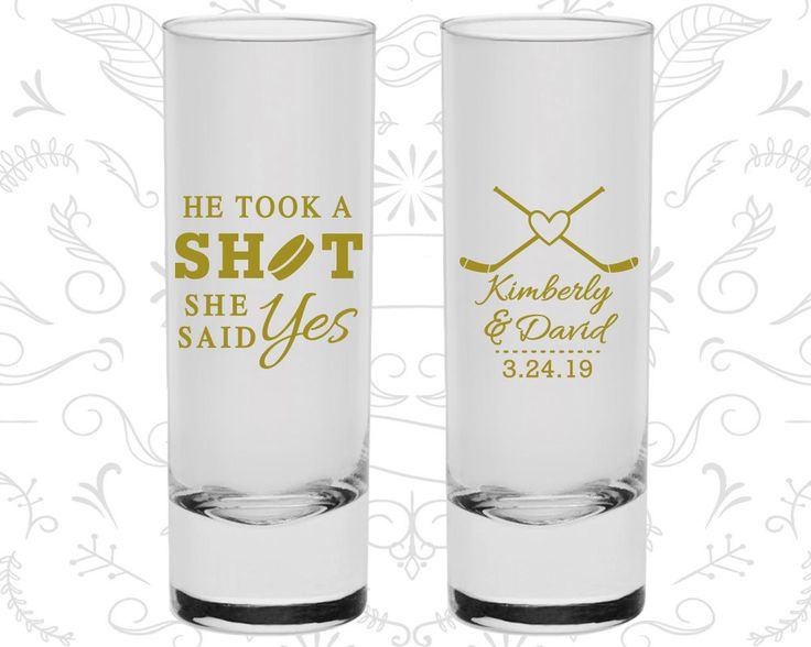 He Took a Shot, She Said Yes, Customized Tall Shot Glasses, Hockey Wedding Shooters, Sports Wedding Shooters, Wedding Shooters (323)