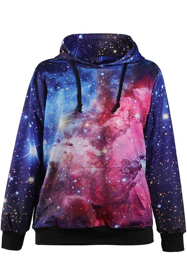 Blue+Galaxy+Pocket+Accent+Hooded+Sweatshirt+#Blue+#Sweatshirt+#maykool