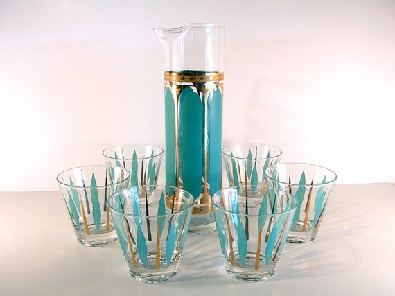 Mad Men Martini Decanter and Glasses in Turquoise and Gold on Etsy, Sold