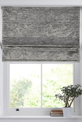 Grey Crushed Velvet Roman Blind Home Blinds Curtains