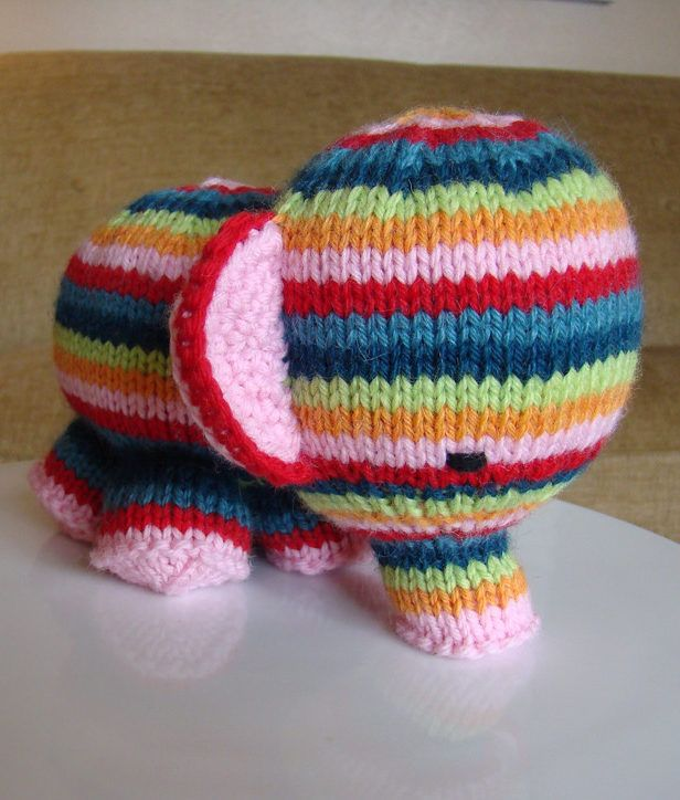 Free Knitting Pattern for Elefante Elephant Toy - Adorable striped toy elephant is a great stash buster. Finished size: 5 inches tall by 6 inches in length Designed by Susan B. Anderson