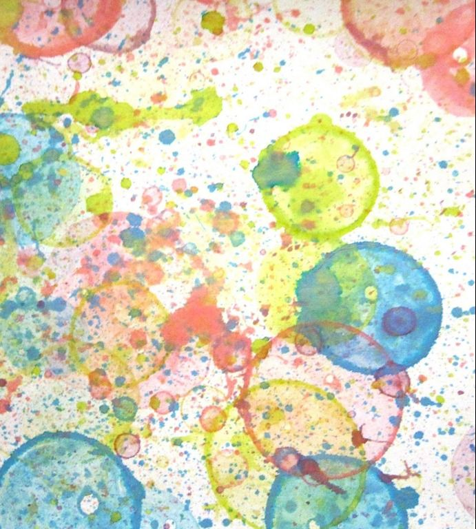 Fun project to do with Clara (Pour bubble solution into several cups. Add 5 drops of food coloring to each cup. Dip bubble wands into the colorful solutions and blow bubbles onto plain white paper. Allow the bubbles to settle and burst on their own)