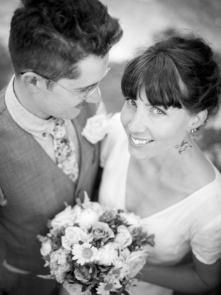 Brudpar, bröllop, porträtt, svartvitt,