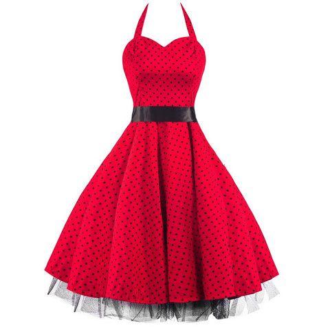 50s Polka Dot Red Black Rockabilly Swing Prom Pin-Up Dress