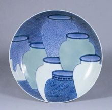 Nabeshima ware, plate 鍋島焼 青磁染付 七壺文 皿 japanese pot, Tsubo motif