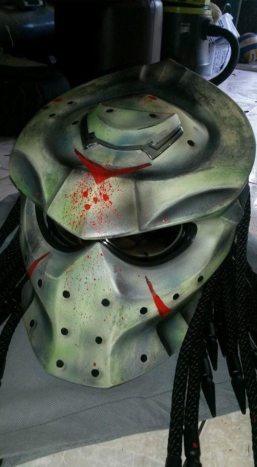 Custom Predator Motorcycle Helmets Moto Bike DOT/ECE. This helmet has a great style, shape and colors, Its a novelty helmet, means it does meet any safety standards. NOVELTY HELMET. Handmade Full Face Skull Skeleton inspired helmet.   eBay!