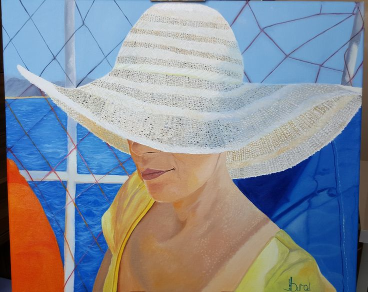"""50×60 canvas oil painting """"lady in aegean"""""""