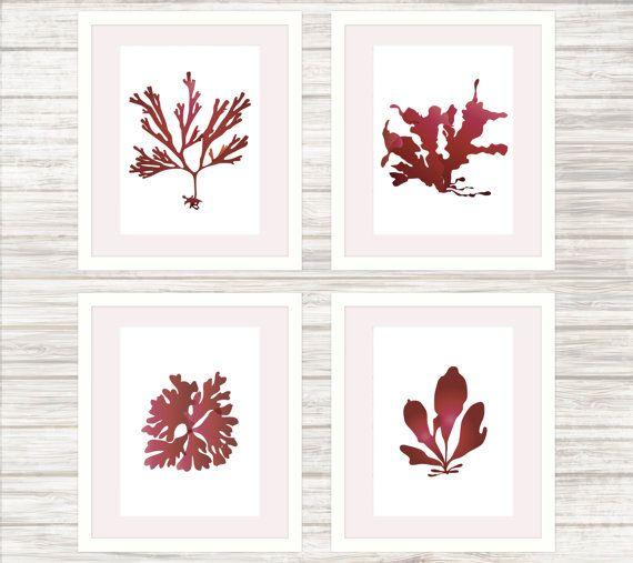 4 Seaweed Prints in Burgundy  Wall Art by paper4download on Etsy