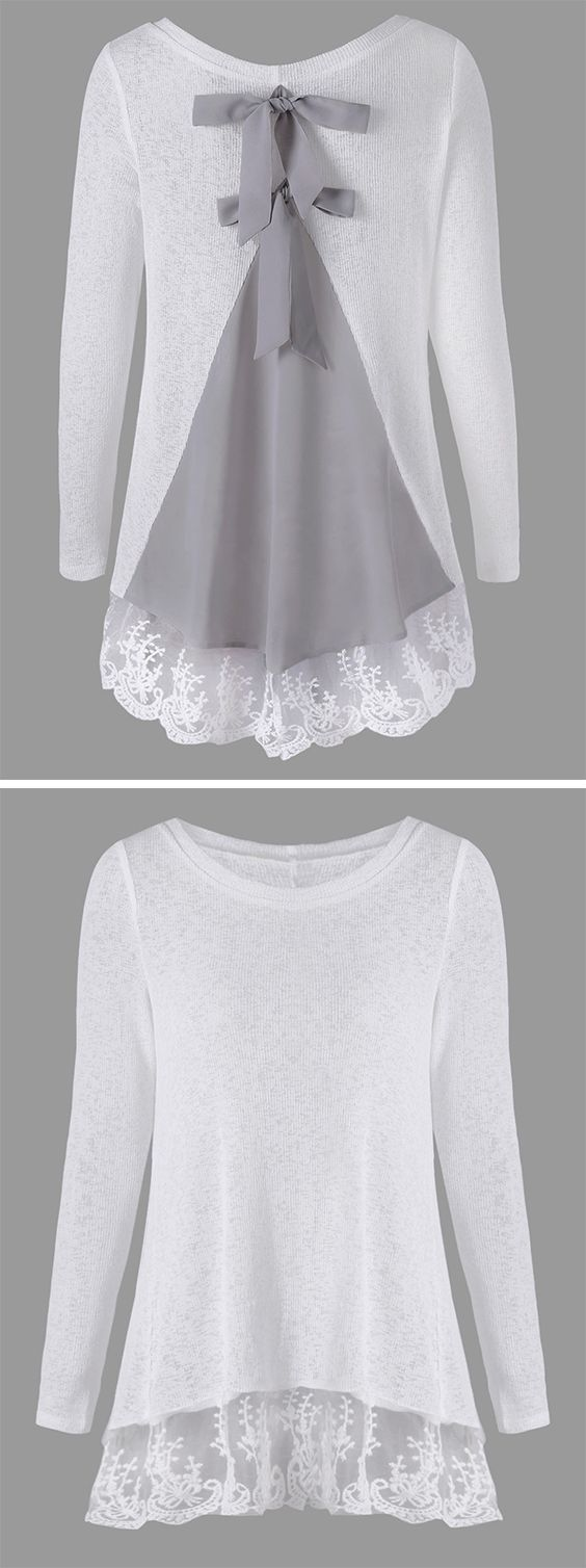 sweater outfits:Back Bowknot Lace Panel Long Sleeve Knit Top ***** More Info: https://tpv.sr/1QoBwQy/