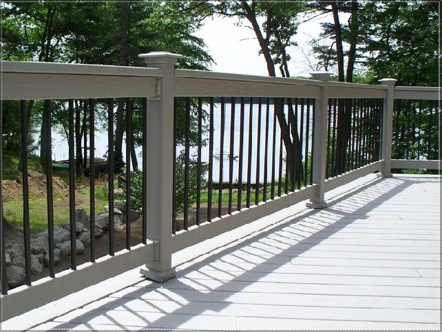 Metal Deck Railing Post See 100s of Deck Railing Ideas http://awoodrailing.com/2014/11/16/100s-of-deck-railing-ideas-designs/