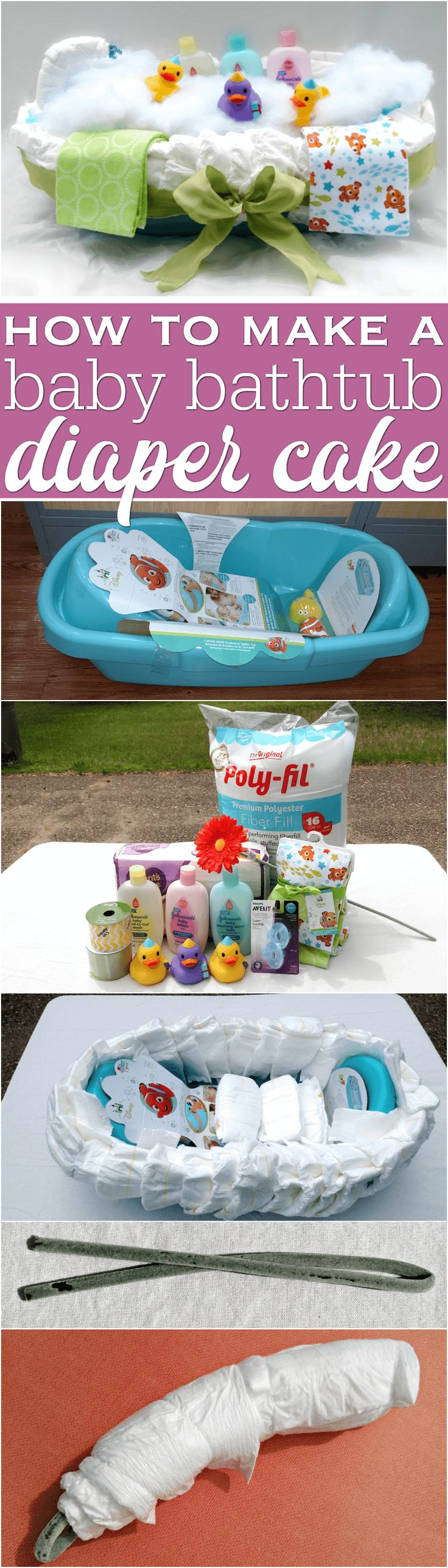 Step by step instructions for how to make a baby bathtub diaper cake. It's a fun way to turn a baby bath into a gift basket with a no-roll diaper cake!