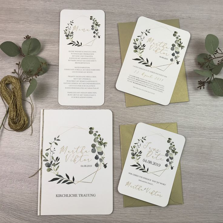 einladung - eukalyptus & gold | hochzeitseinladung