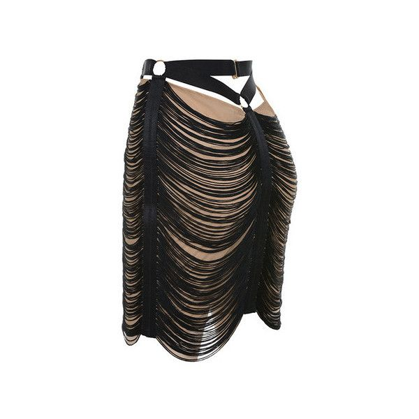 'Tonino' Black and Nude Tassel Skirt featuring polyvore, women's fashion, clothing, skirts, mini skirts, fringe skirt, fringe mini skirt, short mini skirts, draped mini skirt and mini skirt