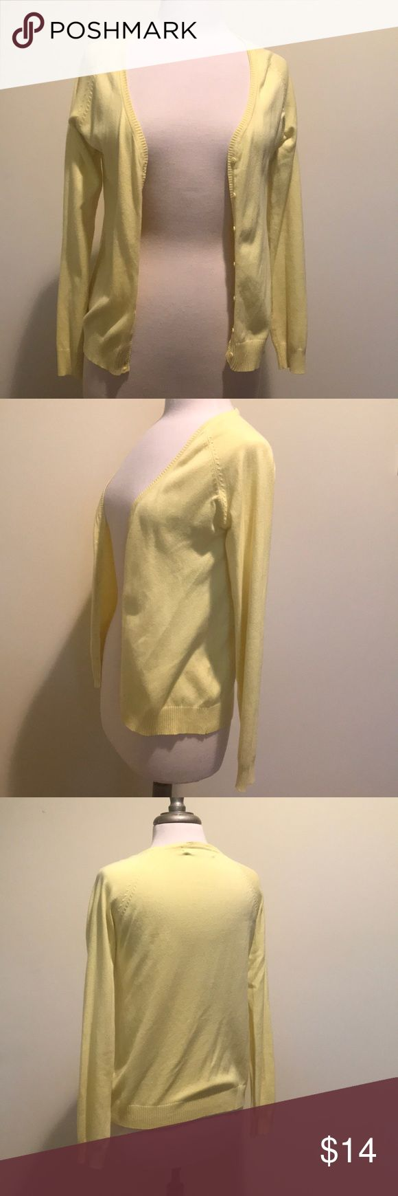 Zara yellow cardigan Zara Yellow/lemon cardigan, with 7 small buttons. Used in good condition. Size L Zara Sweaters Cardigans