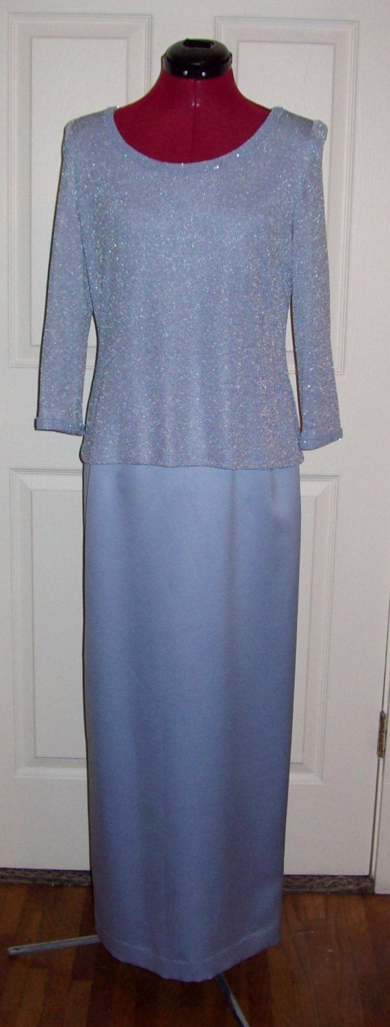 Vintage Ladies Blue Silver Evening Gown Formal by Alex Evenings Size 6 Only 5 USD by SusOriginals on Etsy
